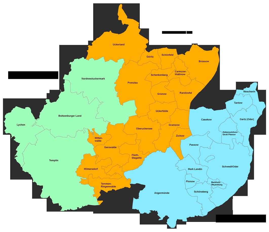 Karte der Regionen Uckermark